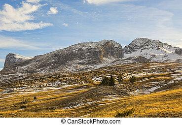 montanha, sem, neve, em, inverno