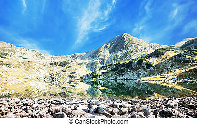 montanha, sereno, montanhas, carpathian, lago, pico, paisagem