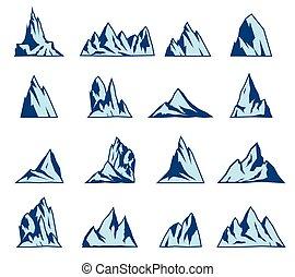 montanha, set., vetorial, ícones