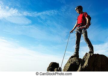 montanha, seu, alcance, ápice, ajudas, pe, sócio, escalador