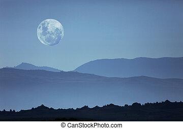 montanha, silhuetas, fantasmagórico, lua