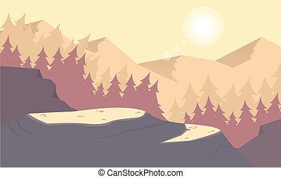 montanha, silueta, manhã