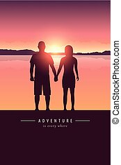 montanha, silueta, par, lago, pôr do sol, aventura, desenho,...