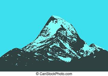 montanha, silueta, pico
