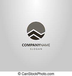 montanha, simples, abstratos, vetorial, logotipo, redondo, paisagem