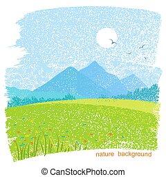 montanha, sky., sol, natureza, fundo, campos, paisagem