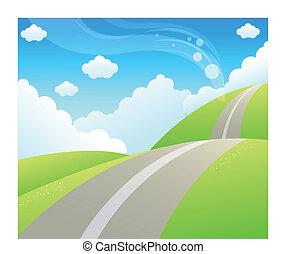montanha, sobre, estrada, céu, verde