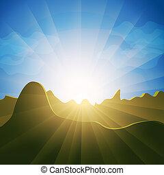 montanha, sobre, raios, sunburst, topos