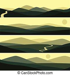 montanha, sol, ilustração, vetorial, estrada, paisagem