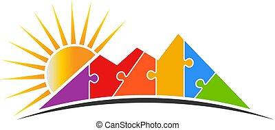 montanha, sol, quebra-cabeça, ilustração, vetorial, logotipo