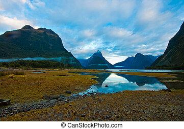 montanha, som, alto, paisagem, zelândia, milford, geleira, novo