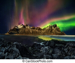 montanha, stockknes, vestrahorn, aurora, iceland., gama, borealis