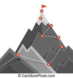 montanha, sucesso, rota, concept., top., bandeira, vetorial, points., caminho, escalando, símbolo, jurney