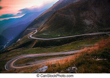 montanha, transfagarasan, -, estrada