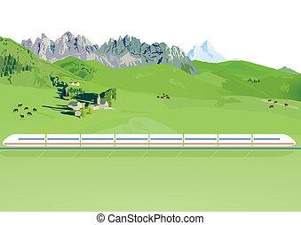 montanha, trem expresso