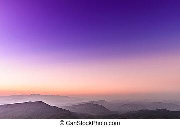 montanha, tropicais, gama, pôr do sol, paisagem, vista