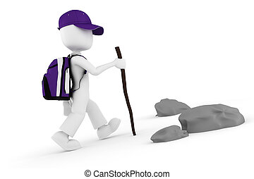 montanha, turista, grande, mochila, escalando, homem, 3d