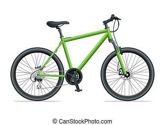 montanha, urbano, isolado, ilustração, vetorial, fundo, bicicleta, branca, ou