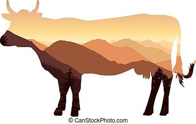 montanha, vaca, paisagem