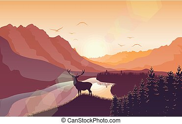 montanha, veado, lago, pôr do sol, floresta, paisagem
