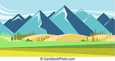 montanha, verão, paisagem, campos
