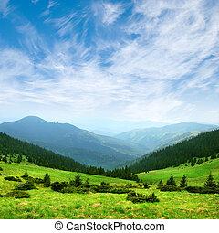 montanha verde, vale, e, céu