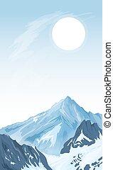 montanha, vertical, fundo