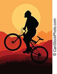 montanha, vetorial, bicicleta, cavaleiros, bicicleta