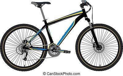 montanha, vetorial, bicicleta