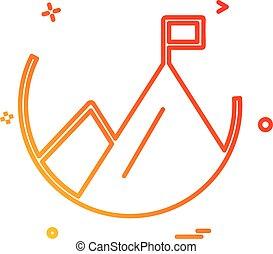 montanha, vetorial, desenho, ícone