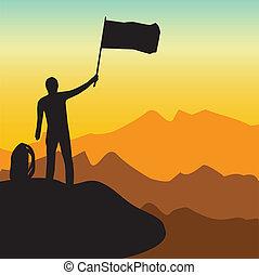 montanha, vetorial, escalando, ilustração