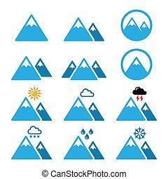 montanha, vetorial, inverno, ícones