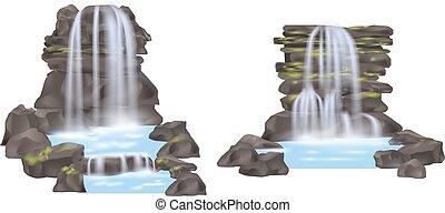 montanha, vetorial, jogo, isolado, cachoeira