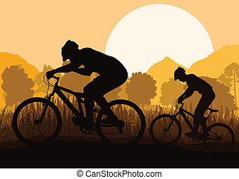 montanha, vetorial, natureza, ilustração, bicicleta, floresta, fundo, selvagem, cavaleiros, paisagem