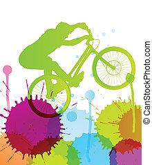 montanha, vetorial, natureza, ilustração, bicicleta, fundo, selvagem, cavaleiro, paisagem