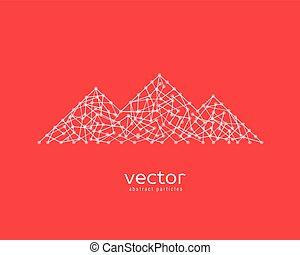 montanha, vetorial, range., ilustração