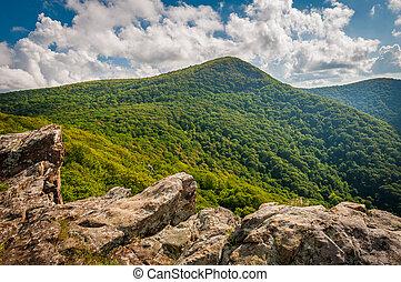 montanha, virginia., nacional, shenandoah, rocha, parque, crescente, hawksbill, vista
