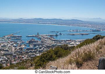 montanha, vista, tabela, panorâmico, perspectiva, aéreo, cidade, áfrica, sul, capa