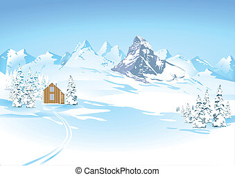 montanha, vistas, em, paisagem inverno