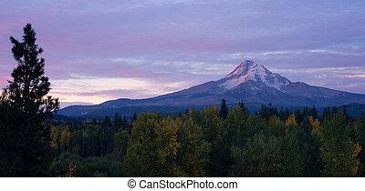 montanha, vulcânico, oregon, escala cascata, mt.,...