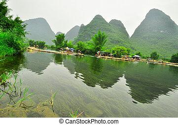 montanha, yangshuo, guilin, li, paisagem, rio, karst