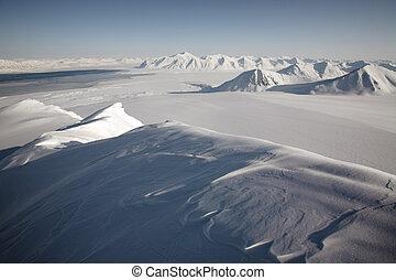 montanhas, ártico, -, paisagem inverno