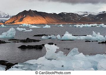 montanhas, ártico, paisagem, mar