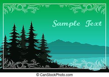 montanhas, árvores, lago