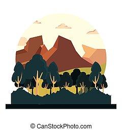 montanhas, árvores, natural, foliage, paisagem
