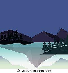 montanhas, árvores, natural, lago, paisagem