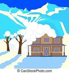 montanhas, árvores., neve, telhado, avalanche, cabana, coberto