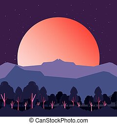 montanhas, árvores, pôr do sol, natural, paisagem