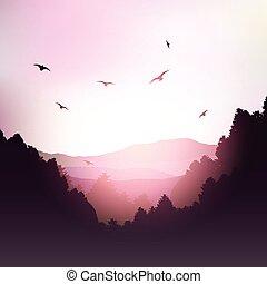 montanhas, árvores, paisagem