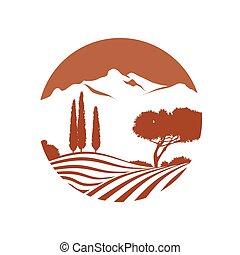 montanhas, ícone, vetorial, paisagem, italiano